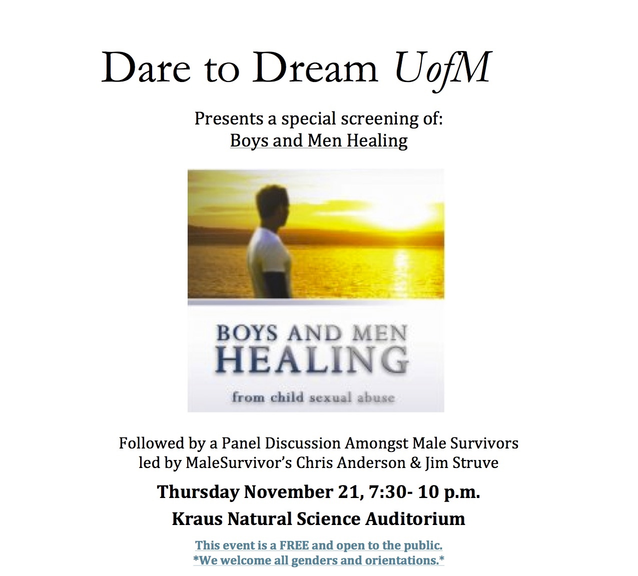 Nov 21st: Dare to Dream: Male Survivors of Sexual Abuse