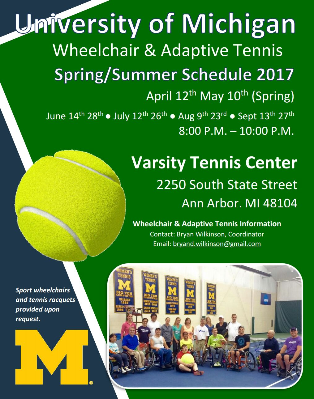 U-M Wheelchair and adaptive tennis schedule