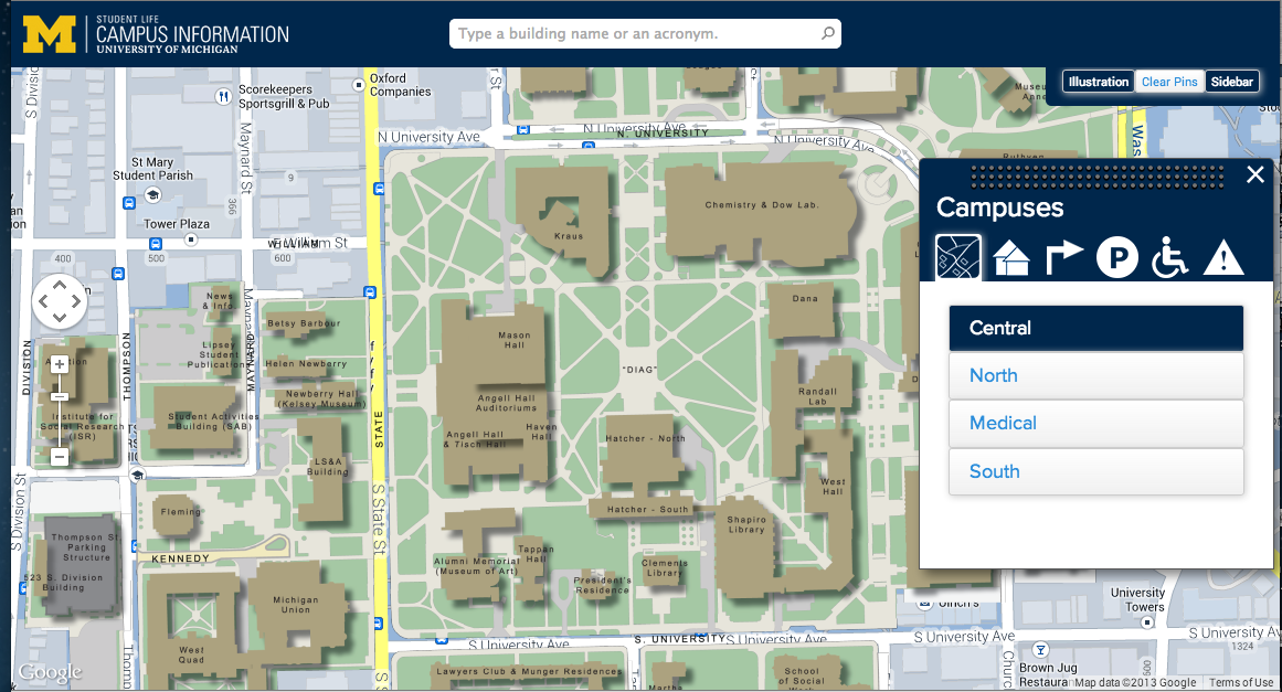 Map Of University Of Michigan University of Michigan Interactive Campus Map | Services for