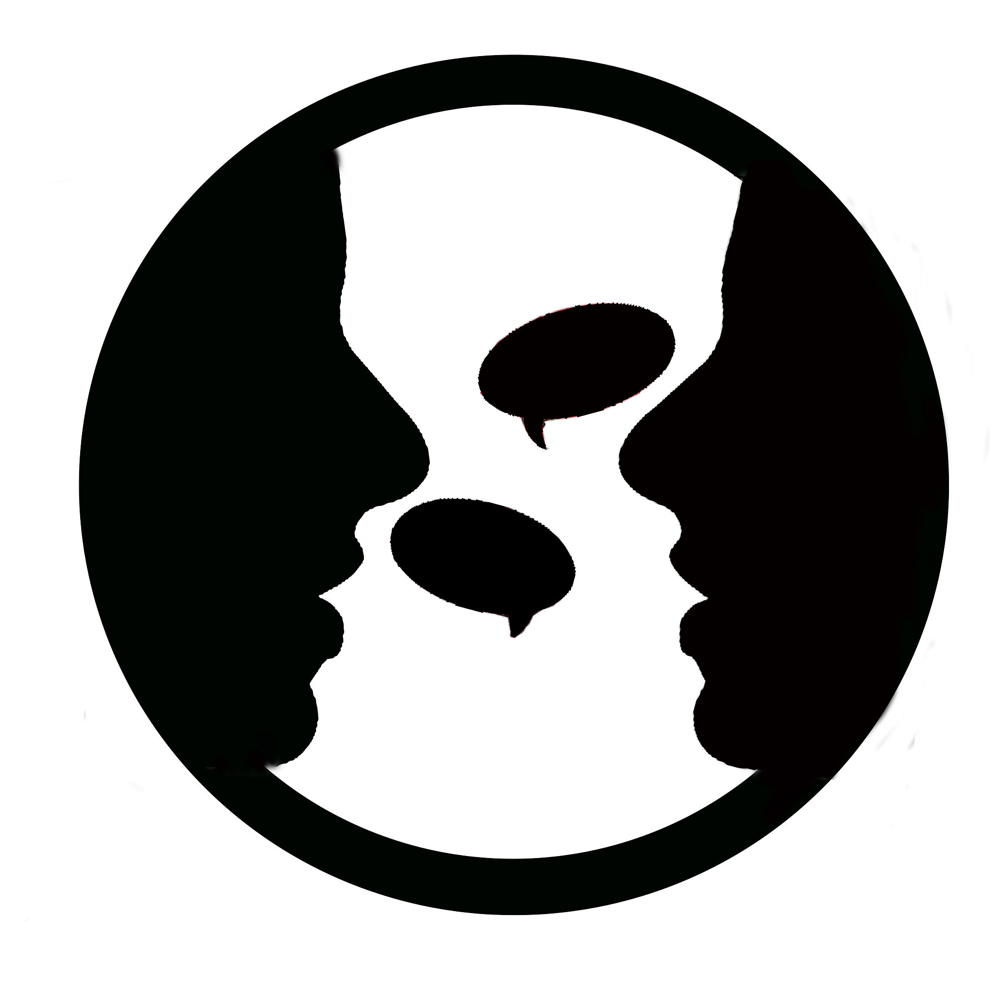 Two people talking logo