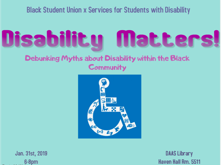 Disability Matters! image of handicap icon with smaller images depicting disability