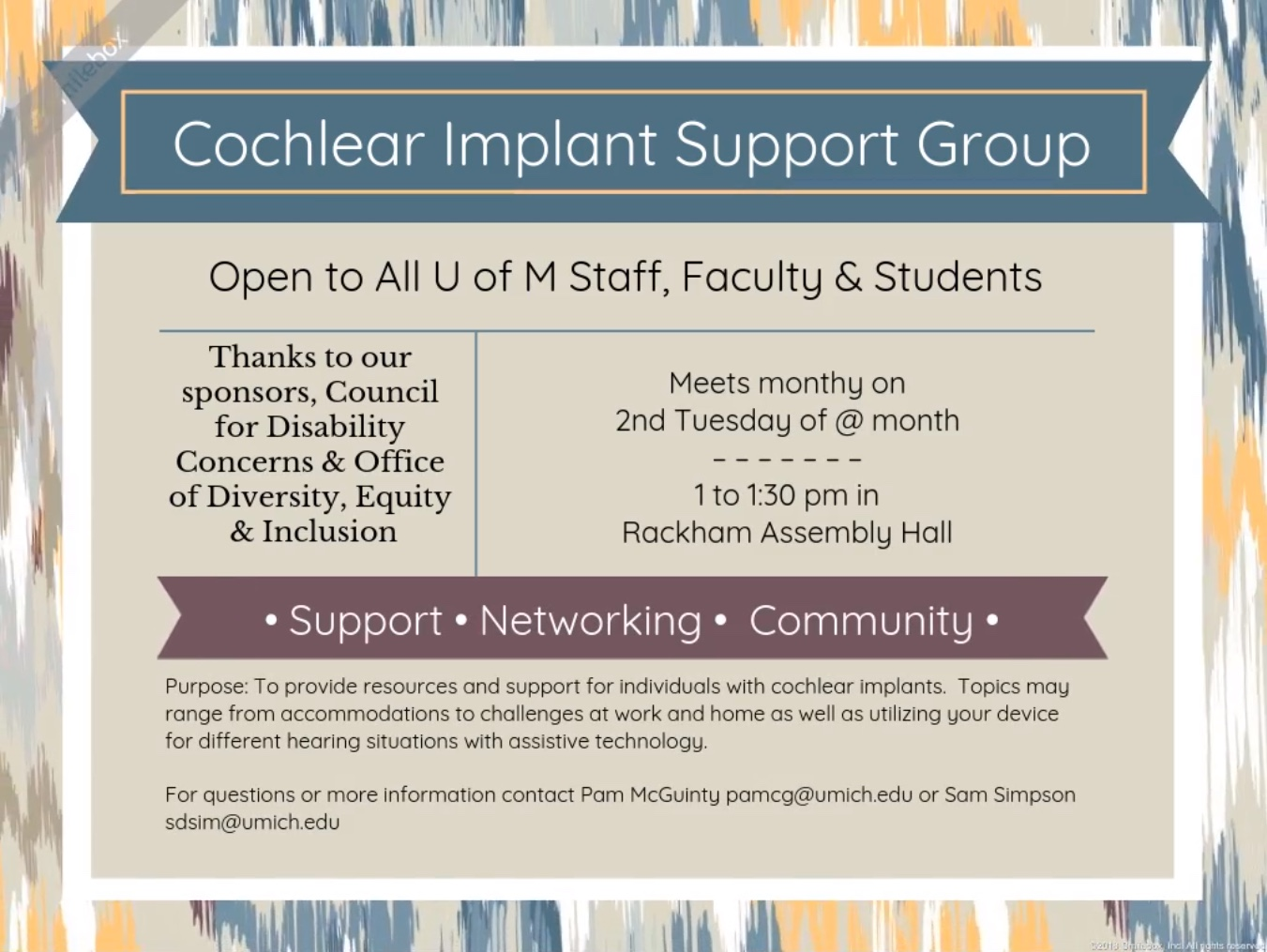 cochlear implant support group flyer