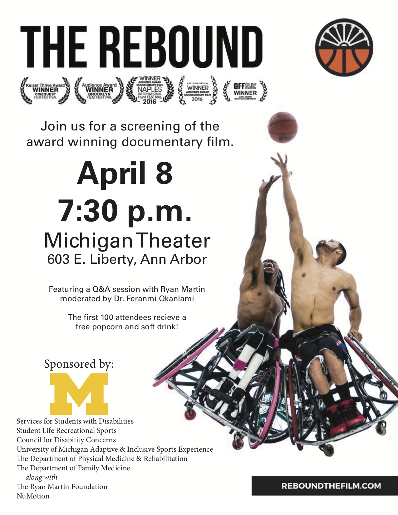 The rebound flyer photo of two players in wheelchairs reaching upward for basketball