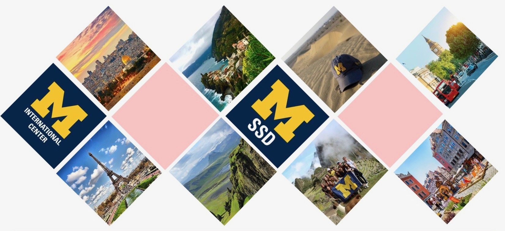photos of places around the world intermixed with the U-M SSD logo and International Center