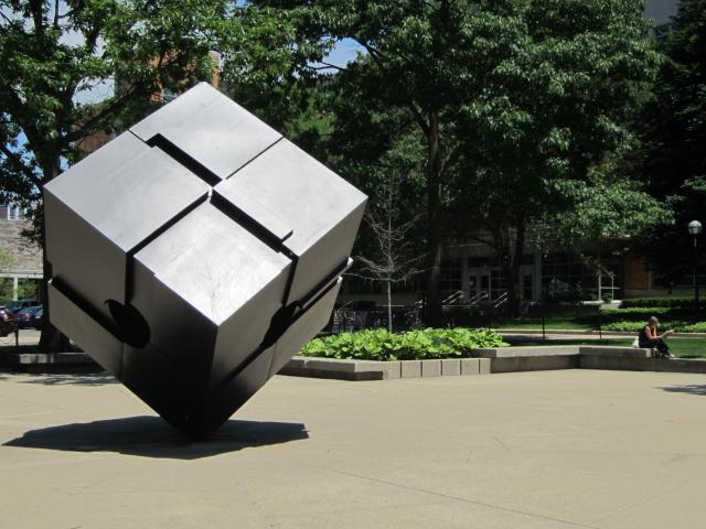Cube sculpture on U-M campus