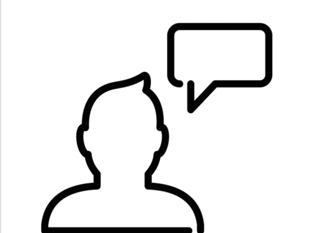 Silhouette of person with speech bubble
