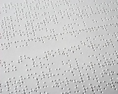page of braille text