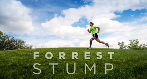 Forrest Stump logo and runner moving across a field