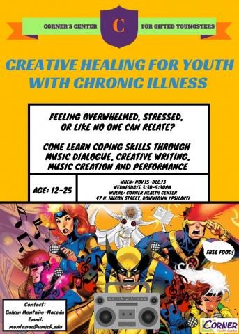 Corner Health Center poster for Creative Health for Youth with Chronic Illness