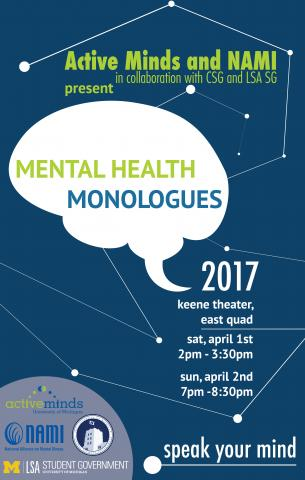 Mental health monologues 2017 keene theater, east quad, speak your mind